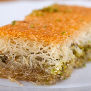 Kanafeh on a white plate